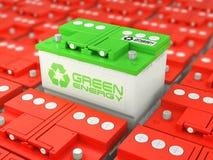 Reciclaje de la batería de coche Energía verde Imagen de archivo libre de regalías