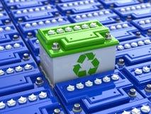 Reciclaje de la batería de coche. Energía verde. Fondo del acumulador Imagen de archivo libre de regalías