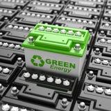 Reciclaje de la batería de coche. Energía verde. Fondo del acumulador Fotos de archivo libres de regalías