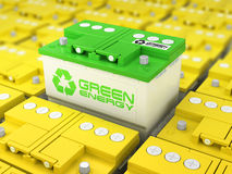 Reciclaje de la batería de coche Energía verde Fondo del acumulador Fotografía de archivo libre de regalías