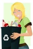 Reciclaje de la muchacha Imagen de archivo libre de regalías