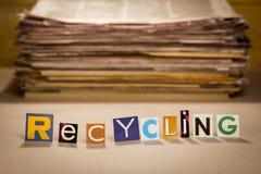 Reciclaje de la muestra Imagen de archivo libre de regalías