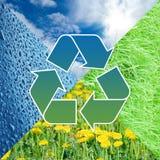 Reciclaje de la muestra con imágenes de la naturaleza Fotografía de archivo