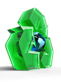 Reciclaje de la muestra con un globo Fotografía de archivo libre de regalías