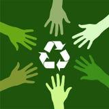 Reciclaje de las personas verdes Imágenes de archivo libres de regalías