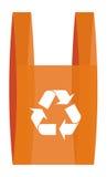 Reciclaje de symbool en un bolso de compras rojo Foto de archivo