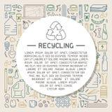 Reciclaje del cartel de la información con diversos tipos de basura ilustración del vector