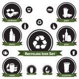 Reciclaje del conjunto del icono Fotos de archivo