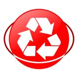 Reciclaje del ejemplo del vector de la muestra, icono rojo Imagen de archivo libre de regalías