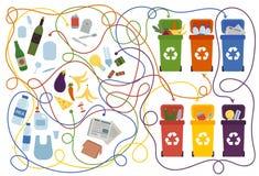 Reciclaje del laberinto para los niños con una solución ilustración del vector