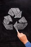 Reciclaje: Recicle la muestra en la pizarra Imagen de archivo