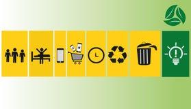 Reciclando ícones com projeto do fundo Fotografia de Stock Royalty Free