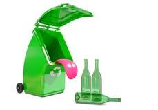 Reciclando el envase para el vidrio come las botellas ilustración del vector