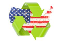 Reciclando en el concepto de Estados Unidos, representación 3D ilustración del vector
