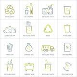 Reciclando los iconos de la basura fijados Fotografía de archivo libre de regalías
