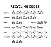 Reciclando los iconos de la flecha del código fijados para reciclar el ejemplo del vector de la plantilla de la etiqueta aislado  stock de ilustración