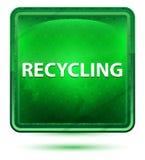 Reciclando a luz de néon - botão quadrado verde ilustração do vetor