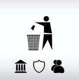 Reciclando o ícone da etiqueta do sinal, ilustração do vetor Chiqueiro liso do projeto Fotos de Stock