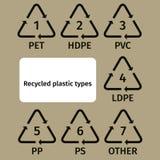 Reciclando o plano do plástico do ícone Recicl do plástico Imagem de Stock Royalty Free