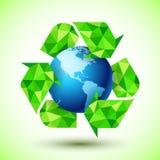 Reciclando o símbolo com globo azul ilustração stock