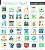 Reciclando símbolos lisos complexos do conceito do ícone do vetor verde da energia para o projeto infographic da Web Imagens de Stock