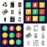 Reciclando todos en los iconos uno negros y el diseño plano del color blanco fijado a pulso Imágenes de archivo libres de regalías