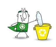Reciclando uma garrafa plástica com Joe Fotografia de Stock Royalty Free