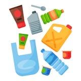 Reciclar a gestão que plástica dos pneus do lixo dos elementos do lixo a indústria utiliza o desperdício pode vector a ilustração ilustração do vetor