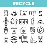 Recicle, basura que clasifica el sistema linear de los iconos del vector libre illustration