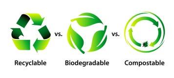 Recicle, biodegradable, y abonable libre illustration
