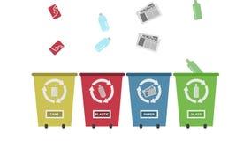 Recicle el concepto - Papeleras de reciclaje fijadas con diversos colores stock de ilustración