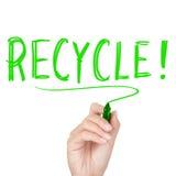 Recicle - el reciclaje del texto Foto de archivo