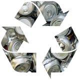 Recicle el símbolo con las latas imágenes de archivo libres de regalías