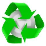 Recicle el símbolo con una esfera blanca Imagen de archivo