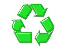 Recicle el símbolo en verde Fotografía de archivo