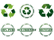 Recicle el símbolo y los sellos Foto de archivo