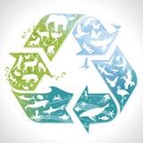 Recicle la muestra con los animales stock de ilustración