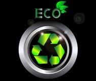 Recicle la muestra de la ecología en el botón negro del metal   Imagen de archivo libre de regalías