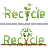 Recicle las insignias del título Imágenes de archivo libres de regalías