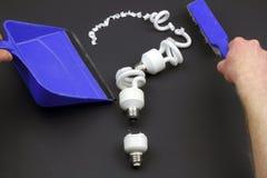 Recicle los bulbos de CFL Foto de archivo libre de regalías