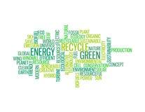 Recicle los gráficos verdes del Info-texto de la energía Imagen de archivo
