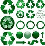 Recicle los iconos fijados Imagen de archivo libre de regalías