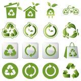 Recicle los iconos fijados Foto de archivo libre de regalías