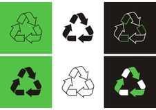 Recicle los símbolos Imagen de archivo libre de regalías
