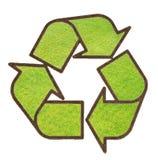 Recicle o sinal da grama verde Imagens de Stock Royalty Free