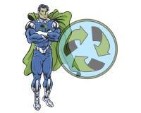 Recicle o super-herói da banda desenhada na pose heroico com reciclam o protetor Fotos de Stock