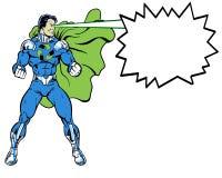 Recicle o super-herói da banda desenhada que está na pose heroico para o ambiente usando feixes do olho Foto de Stock