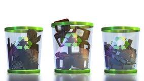 Recicle, os teclados, o USB, a tevê e as câmeras caindo em um escaninho de lixo contra a metragem branca, alfa, conservada em esto ilustração stock