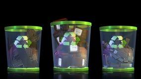 Recicle, os teclados, o USB, a tevê e as câmeras caindo em um escaninho de lixo contra a metragem preta, alfa, conservada em estoq ilustração royalty free