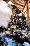 Recicle a planta. Processo de separação de lixo, plásticos, latas, fotografia de stock royalty free